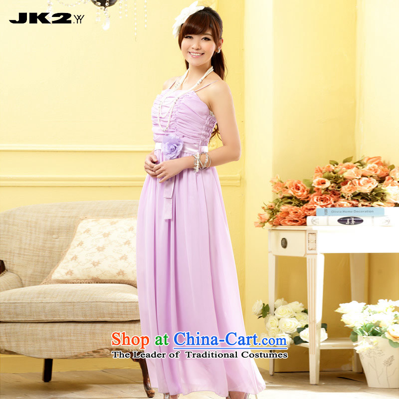 ?To intensify the dinner JK2 gown strap chiffon long skirt elegant Bridal Services evening drink. XL recommendations purple girl?about 125.