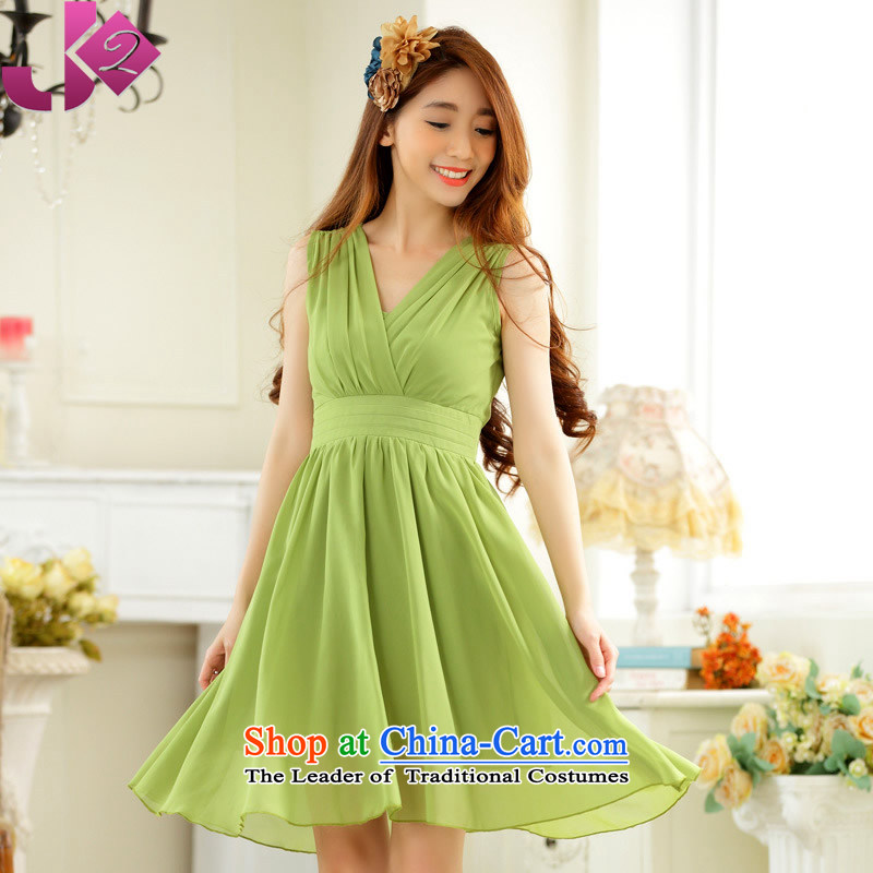 ?The Korean version of the presence among the JK2 V-Neck foutune sleeveless skirt in pure color chiffon dresses large gatherings show dress skirt green?M around 922.747 recommended 100