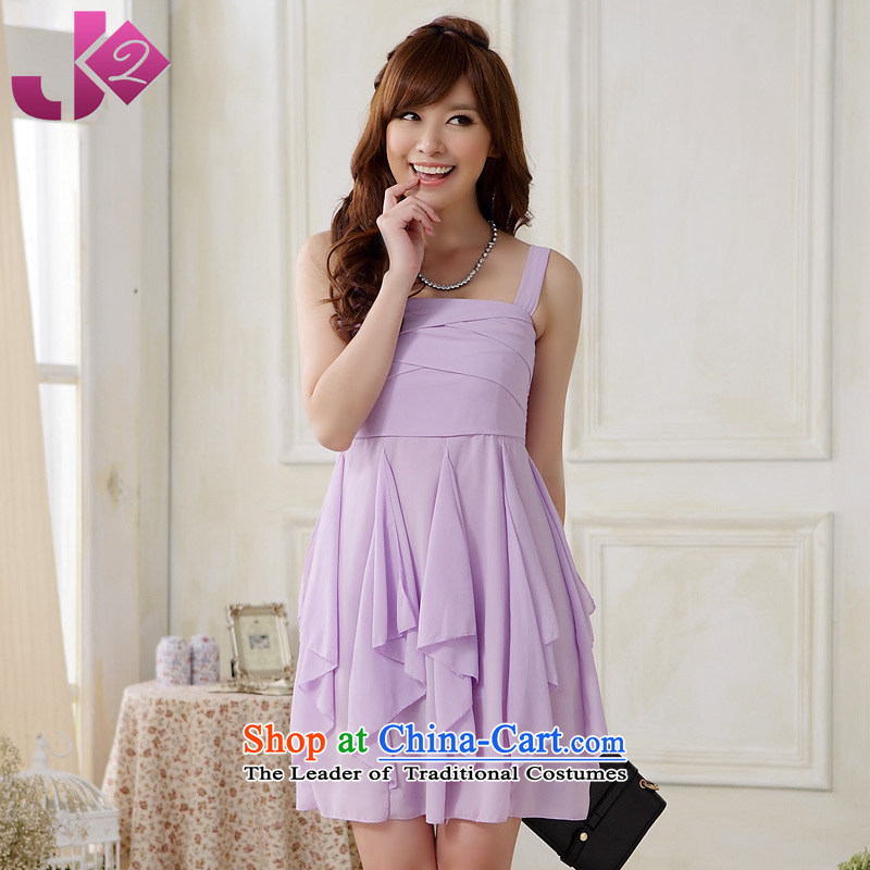 The new summer 2015 JK2 wild sexy dress skirt strap chiffon irregular xl short skirt suits purple�XXL recommendations about 140