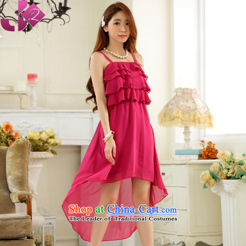 In 2015, the summer JK2 long tails skirt chiffon billowy flounces solid color strap small large dress dresses in Red?2XL recommendations about 155