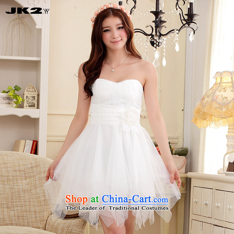 ?Irregular sweet JK2 lace stitching Mesh Princess dresses and his chest Top Loin of short of Sau San pink bridesmaid skirt white?XXXL recommendations about 165