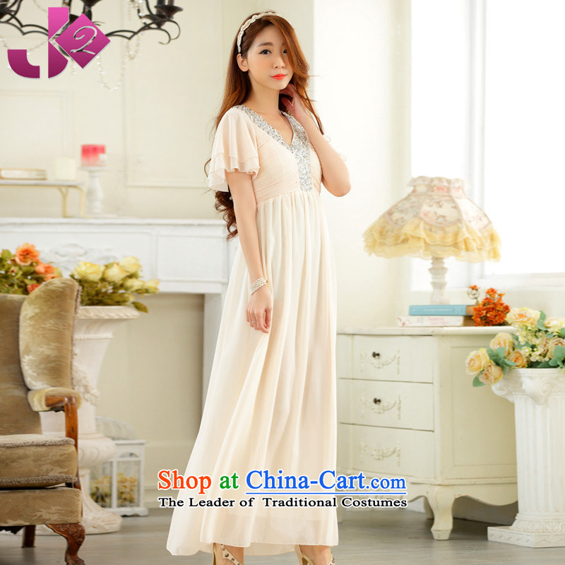 The new 2015 JK2 horn come on-chip V-neck in the Cuff chiffon skirt performances under the auspices of pure color long evening dress champagne color?XL recommendations about 135