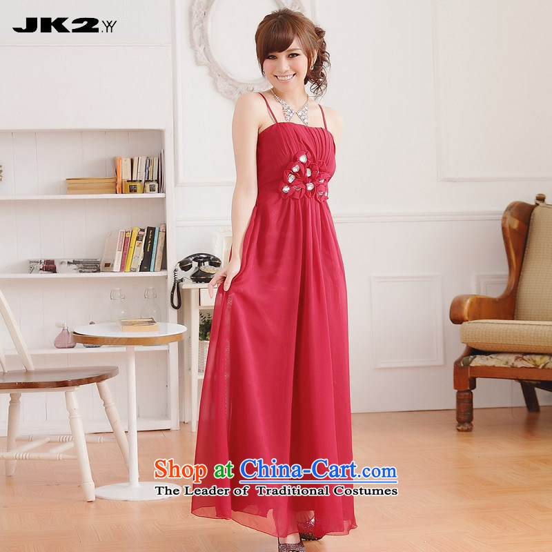 聽Manually staple sweet Jk2.yy drill length of dress solid color strap Sau San evening larger Simple Snow woven dresses dark red聽2XL recommendations about 140