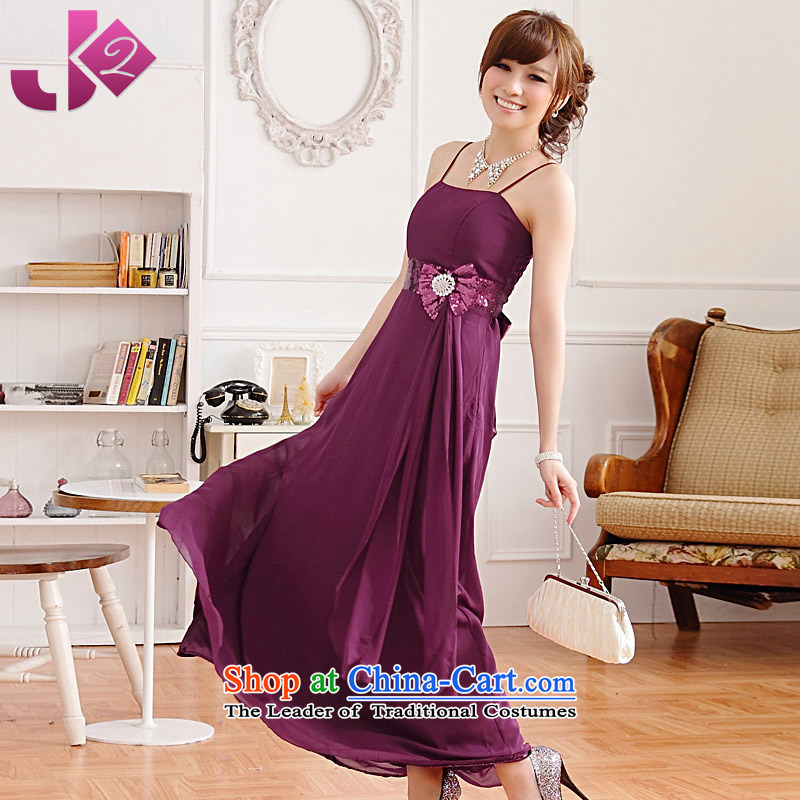 聽On-chip high-waist JK2 bow tie dinner dress chiffon long skirt xl wedding banquet slips bows services are recommended 100 yards purple around 922.747