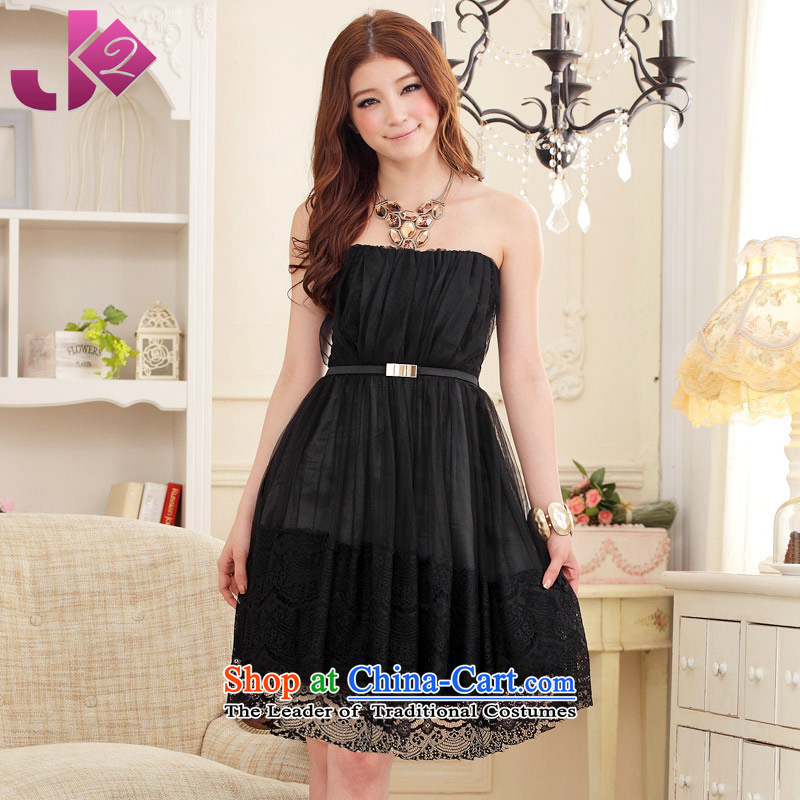 ?The Korean version of sweet princess JK2 anointed chest pure color small dress lei mesh yarn bridesmaid dress wedding dress XL black skirt. Both code around 922.747 recommended 100