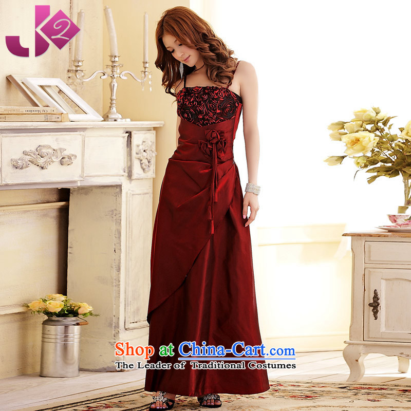 ?The new flower JK2 straps bride long evening dresses bows services will increase the shirt dress code Summer Wine red. About 130 recommendations XL.