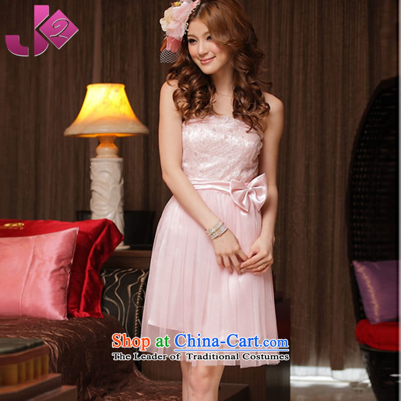 Jk2 lace back strap dresses pure color and chest skirt marriage bows Services xl short) bridesmaid small pink dresses XXXL recommendations about 185