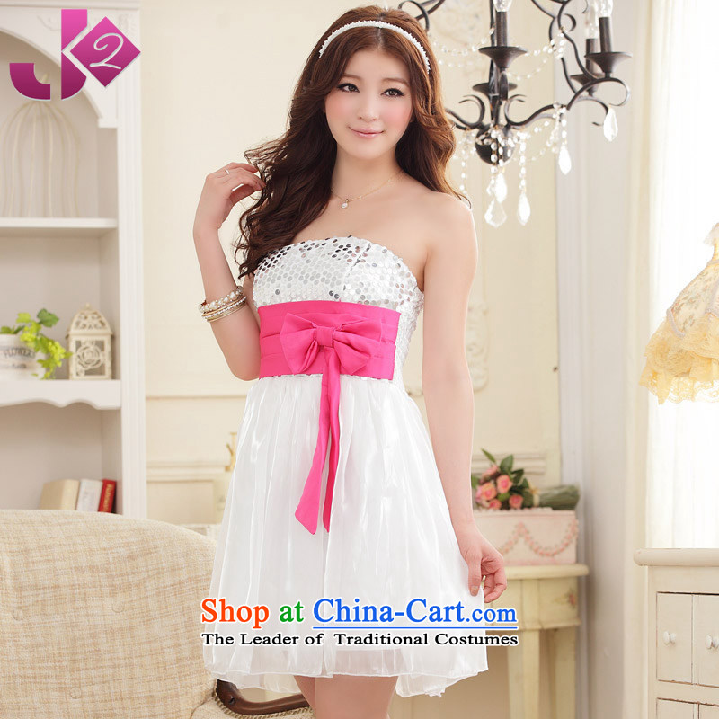 ?Wipe the chest princess JK2 sweet skirt on chip bow tie dresses gauze xl bridesmaid to Sau San video thin white?XL recommendations about 125