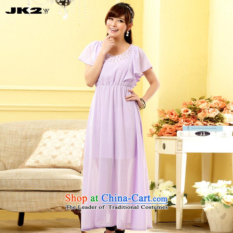 Jk2.yy?sweet billowy flounces chiffon elastic waist relaxd dress short-sleeved dresses pure color nail-ju long gown purple?XL recommendations about 130