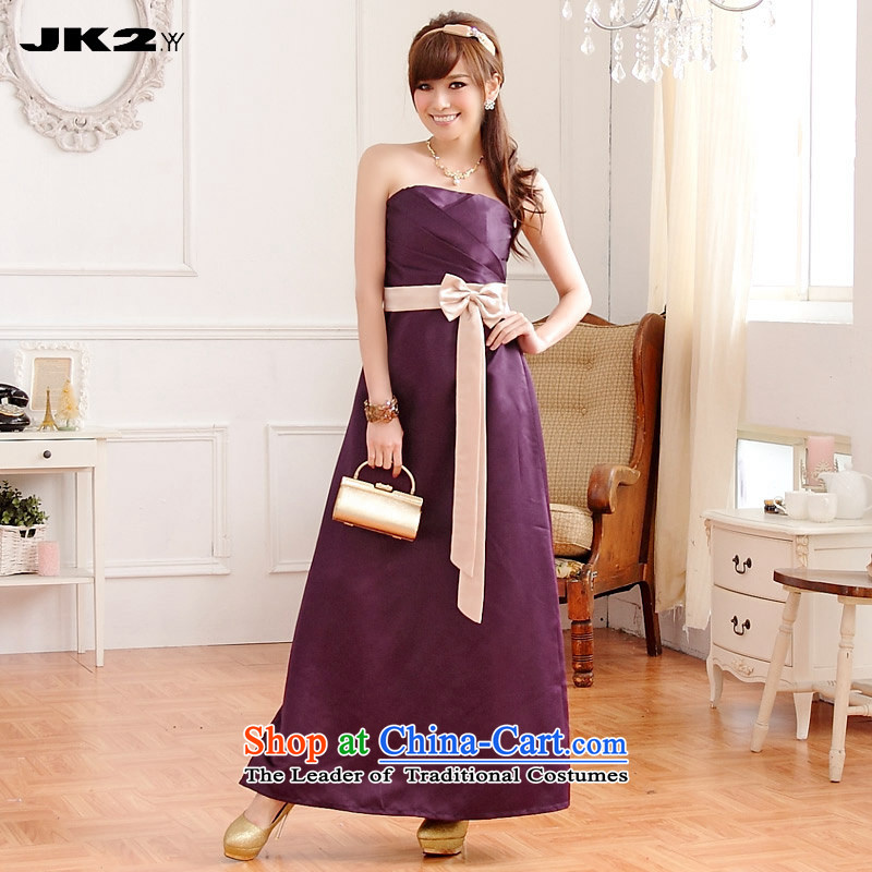 2015 Sau San graphics and slender Jk2.yy) Bride bows service dress wedding dress evening banquet wrapped chest dresses purple?XL recommendations about 130.