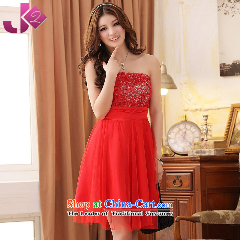 �The new summer JK2 XL Graphics thin evening Sau San roses gauze wiping the chest bridesmaid dress dresses red�3XL around 922.747 recommendation 170