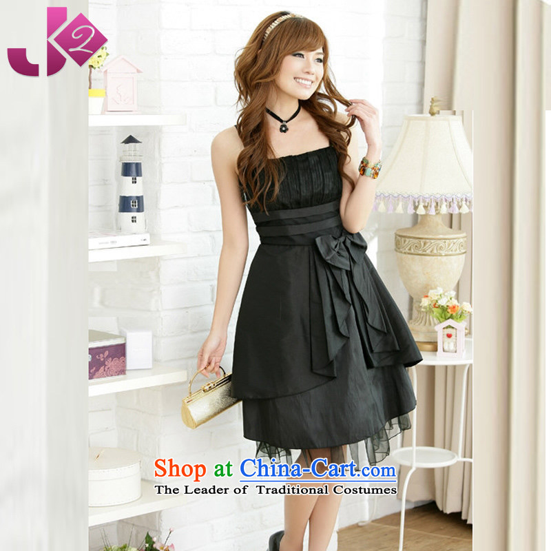 Pure Color 2015 JK2 bow tie strap dresses xl bon bon skirt evening gatherings bridesmaid dress black�XXL recommendations about 160