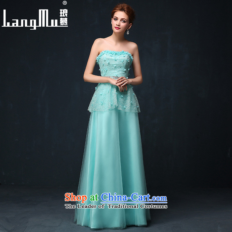 The new 2015 Luang dress marriage services AMOI, bows bride evening dresses banquet long dresses and chest girl?S Blue Lagoon