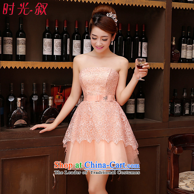 Time the new 2015 Syria Korean wiping the chest straps small dress sister bridesmaid service of married women serving raw pink toasting champagne evening dresses graduated dress bare pink XL