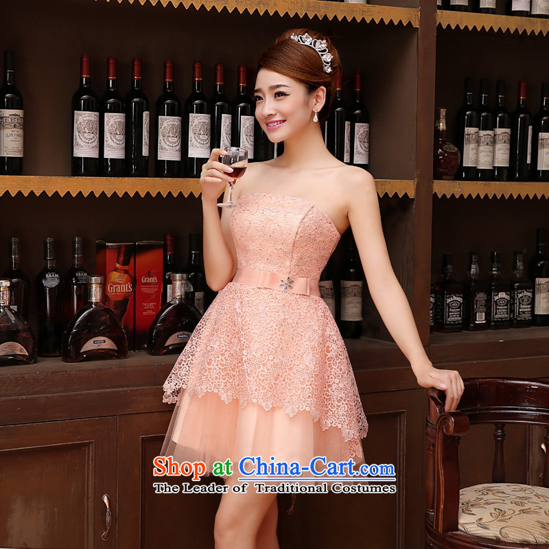 Time the聽new 2015 Syria Korean wiping the chest straps small dress sister bridesmaid service of married women serving raw pink toasting champagne evening dresses graduated dress bare pink聽XL, Syria has been pressed time shopping on the Internet