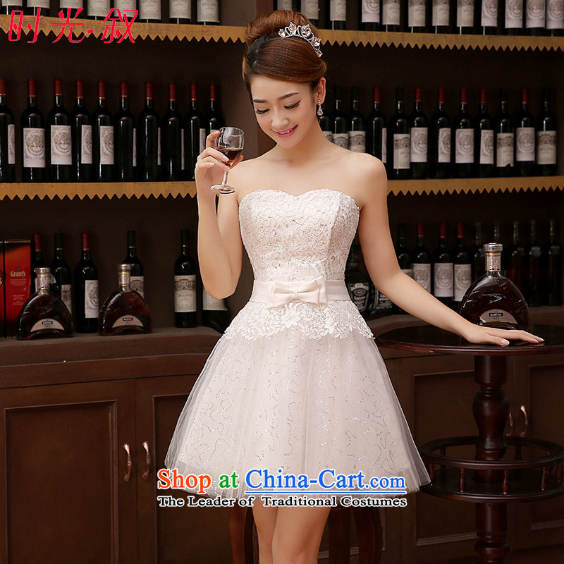 Time Syrian marriages small anointed chest straps dress marriage bows services bridesmaid service stylish red 2015 new Korean dress women will White XL