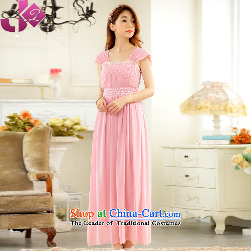 The new summer 2015 JK2 elegant manually staple pearl evening dinner show thick sister xl long chiffon dress skirt pink are code around 922.747 recommended 100