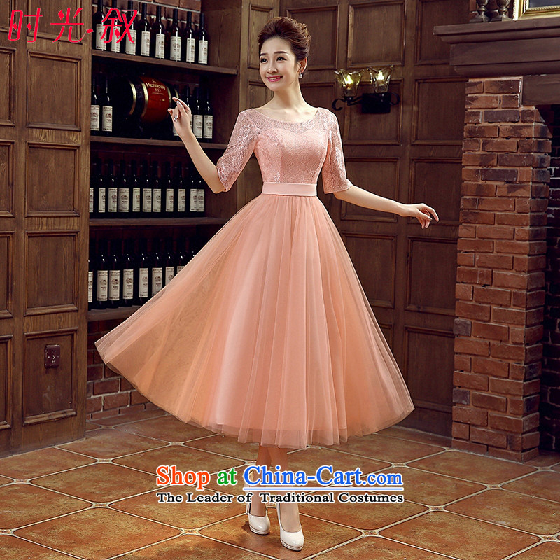 The Syrian brides bows service hour 2015 new small red dress Korean bridesmaid in long bridesmaid skirt wedding dress evening dress autumn evening female bare pink XXL