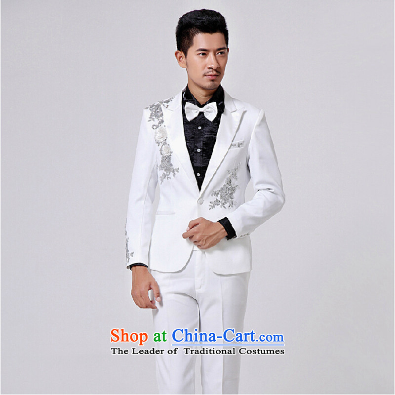 Will the men's dress men suits white Korean Aluminum Foil Moderator Singer Stage Costume white 185(XXL)180 catty
