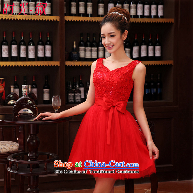 Time Syrian wedding dress girl brides bows to diamond shoulders V-neck in a small red dress bon bon apron skirt evening dress 2015 new bon bon yarn petticoats XXL