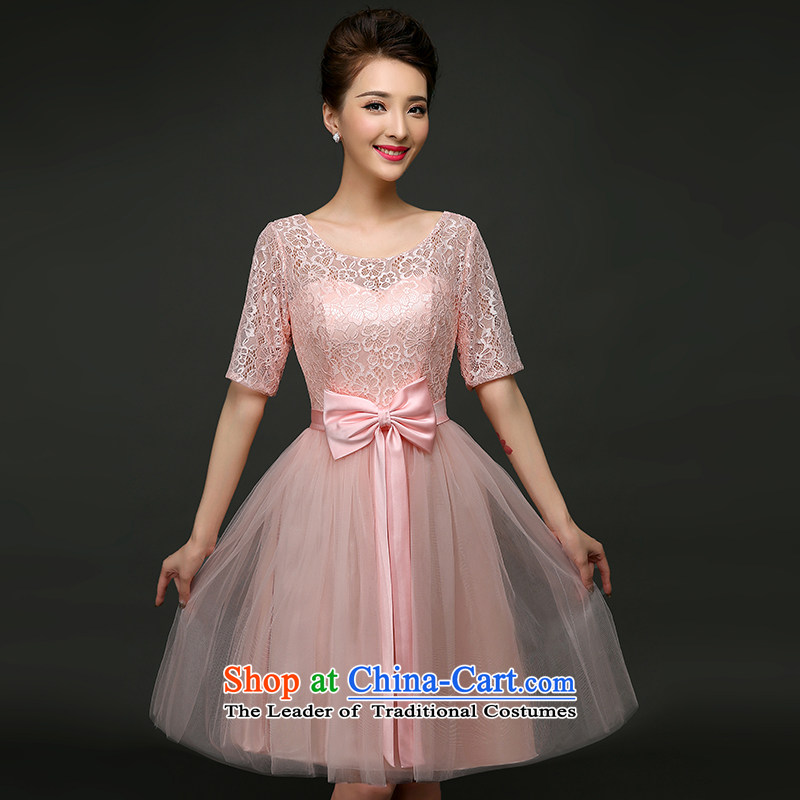 Pure Love bamboo yarn 2015 new spring and summer wedding dress bride bows services stylish Sau San Crowsfoot Red Dress Short of marriage pink short, XL