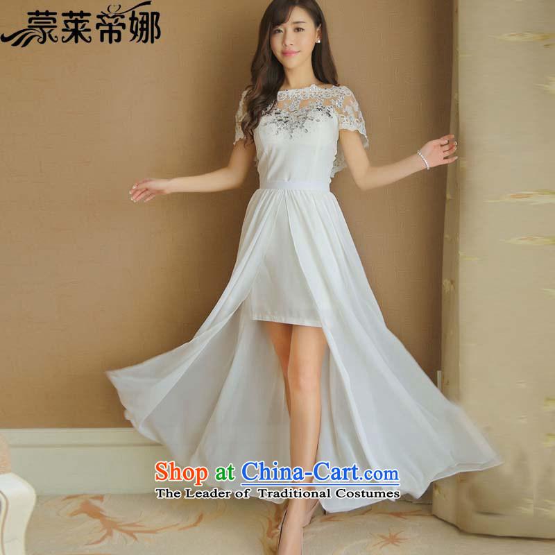 The 2015 Dili Blair Monrovia korea nail pearl diamond drill dresses Korean short of heart-ngai same aristocratic dress skirt summer long skirt 8129 White?L