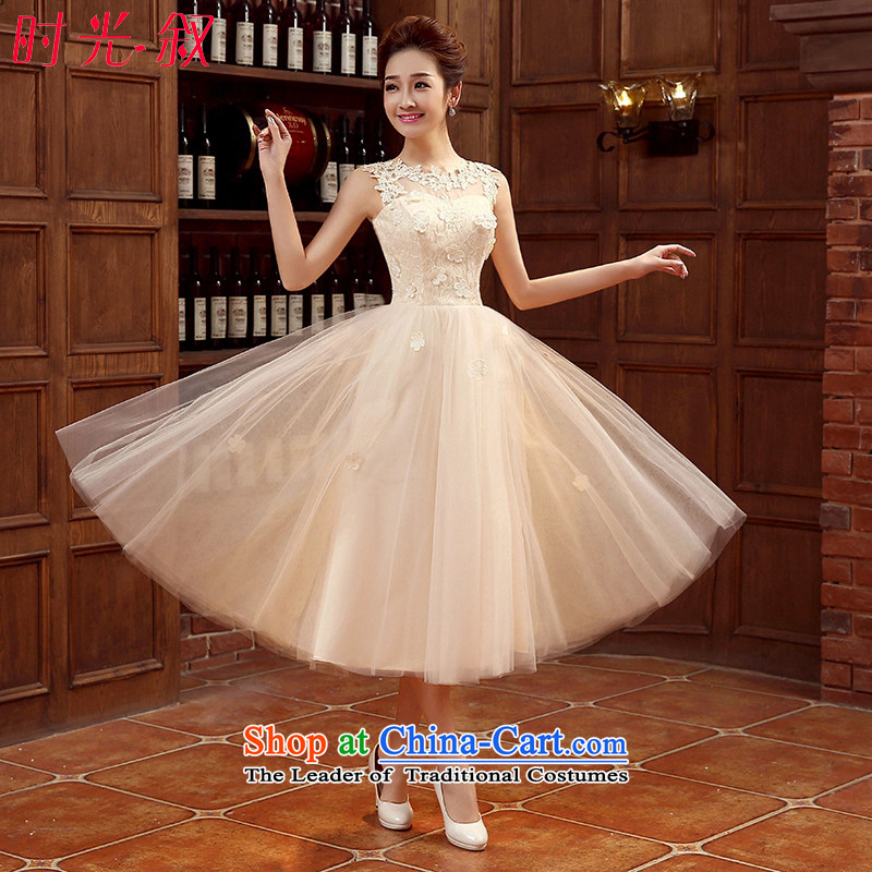 The Syrian Arab Republic?2015 Korean time champagne color bridesmaid to serve small dress bridesmaid dress skirt wedding dress bride bows services evening dresses bridesmaid mission sister skirt champagne color?L