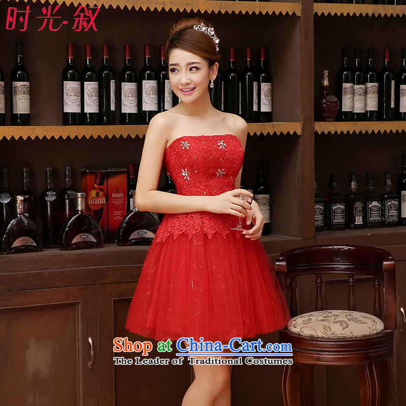 Time Syrian marriages bows to wipe the chest straps red Korean small dress bridesmaid service, evening dresses 2015 New Red Dress Web Red?XL