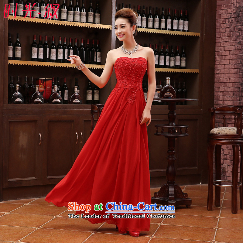 Time Syrian evening dresses 2015 new dresses wedding dress bride bows services for pregnant women and large chest red long banquet evening dress Top Loin of female red�XXL