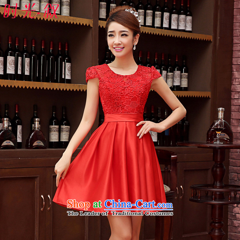 Time Syrian marriages bows Services聽2015 new red short_ bridesmaid services Korean wedding package booking Sau San shoulder small dress short skirt evening dress red聽L