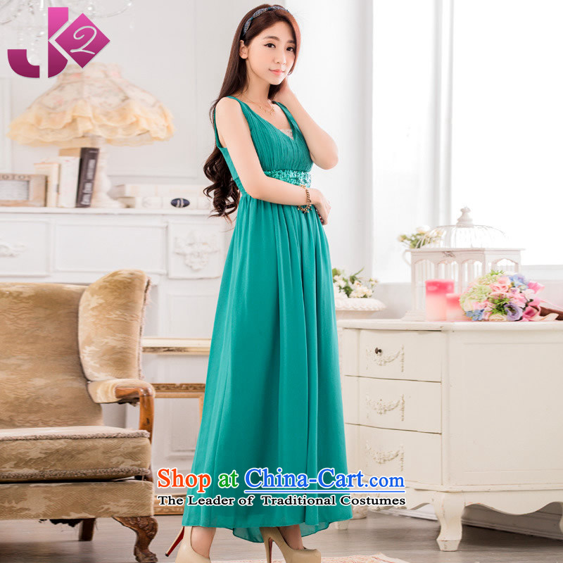 Jk2?sexy new V-Neck long meeting presided over large stylish light slice dress solid color minimalist sleeveless chiffon dresses?XXXL green