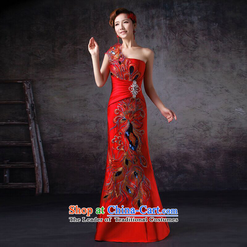 The first white into about bride red crowsfoot bows services long single shoulder evening dresses retro shoulder cheongsam dress qipao Sau San banquet back strap�M