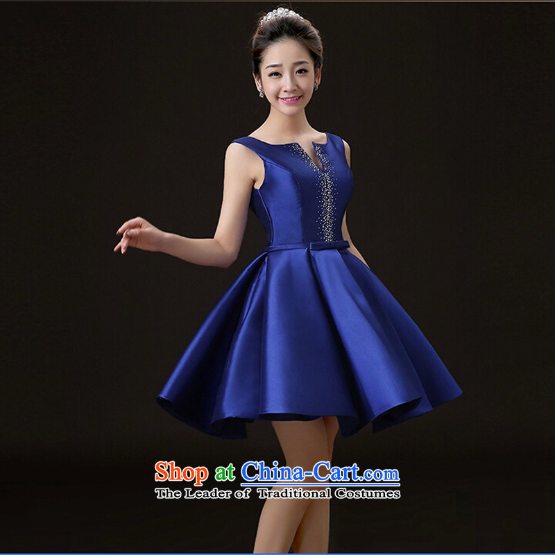 The new 2015 Spring/Summer Wedding dress bride bows services stylish Sau San Crowsfoot Red Dress Short of marriage dress stage performance services blue L