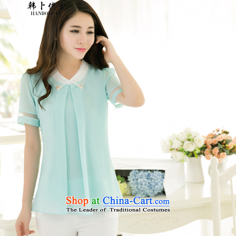 Korea also esher? fragmented Korean decorated in large summer cool chiffon shirt shirt country 529C680825 light green?L