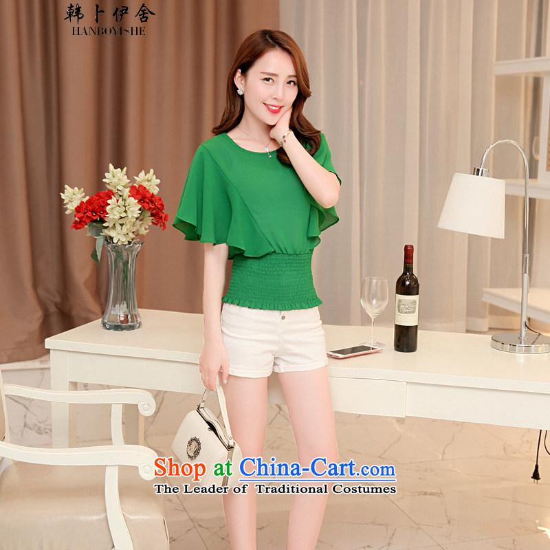 Korea Pu esher? nearly 2015 Summer new stylish Sweet round-neck collar foutune chiffon shirt female A02155936 Black?XL