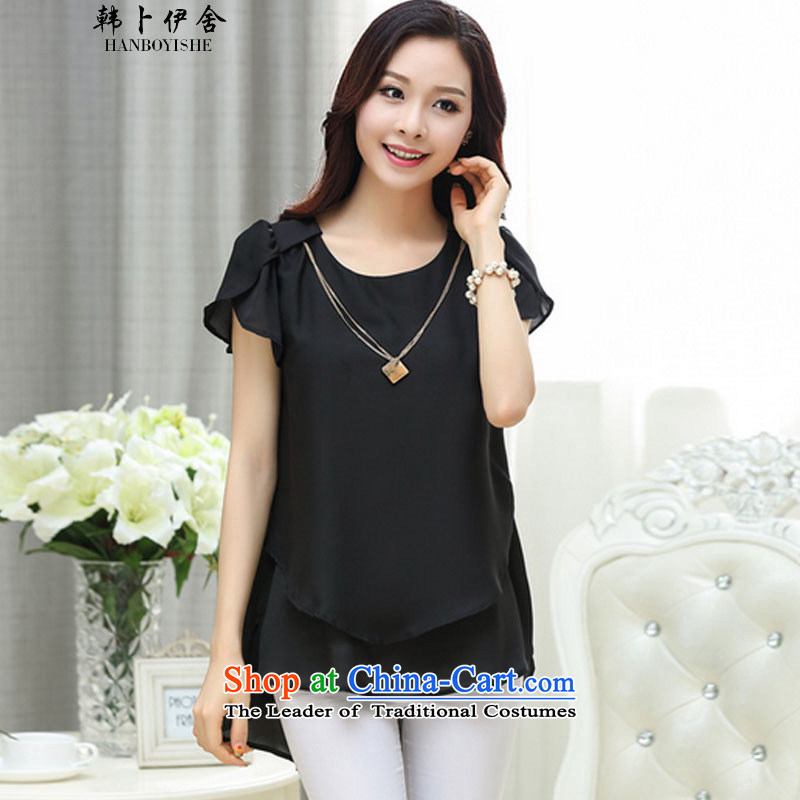 Korea Pu esher? nearly 2015 Summer Korean loose extra thick MM female round-neck collar short-sleeved shirt chiffon small black?3XL