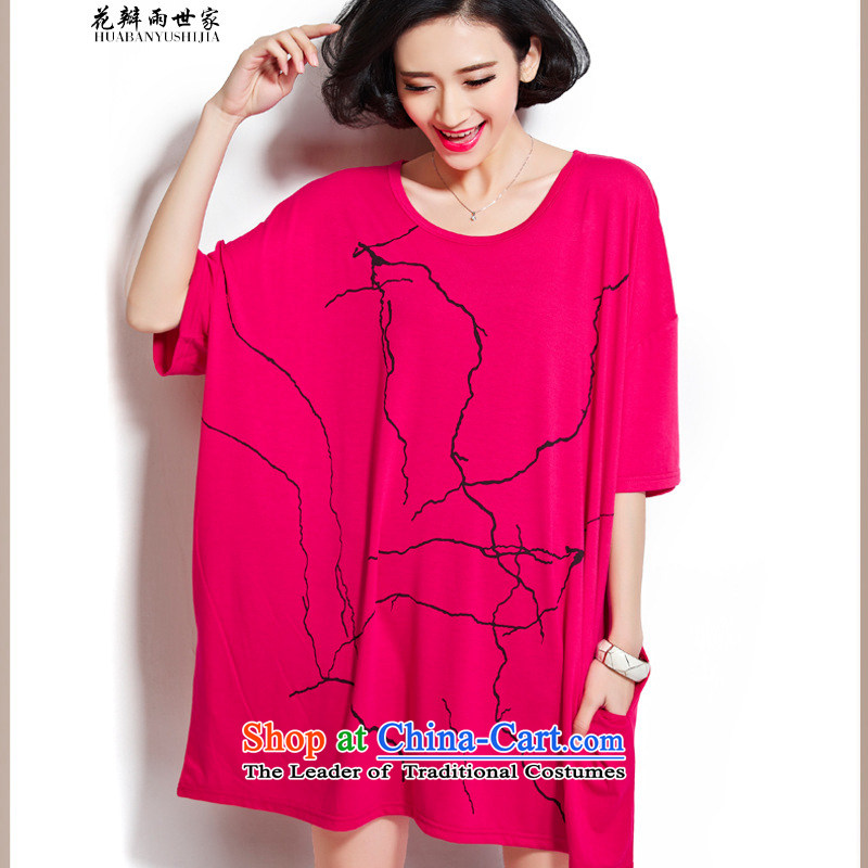 The introduction of the Paridelles petals rain 2015 summer short-sleeved large relaxd fit 200 catties thick MMT pension dresses 818685926 female red large numbers for the code