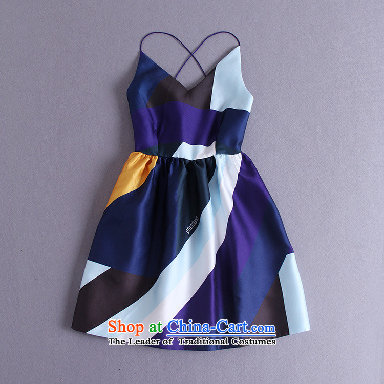 The introduction of the Paridelles petals rain 2015 Summer New spell color slips V-Neck back Sau San bon bon short skirt sleeveless dresses map color M brand, prices, picture platters! The elections are supplied in the national character of distribution, so action, buy now enjoy more preferential! As soon as possible.