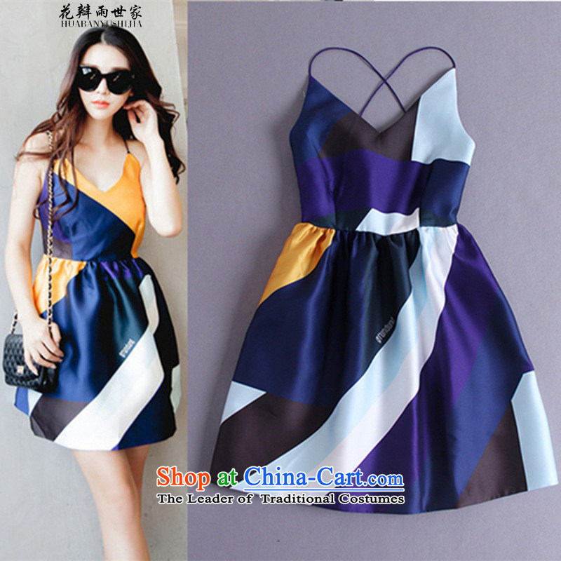The introduction of the Paridelles petals rain 2015 Summer New spell color slips V-Neck back Sau San bon bon short skirt sleeveless dresses map color?M
