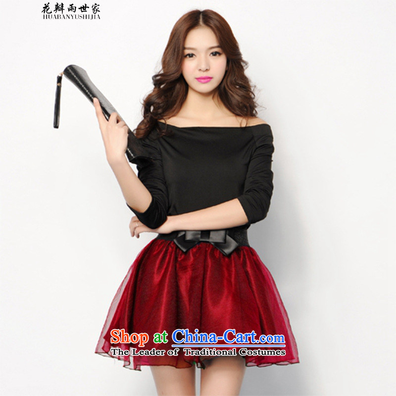 The introduction of the Paridelles petals rain 2015 Summer new Korean version of the yarn body bon bon skirt wine red are code