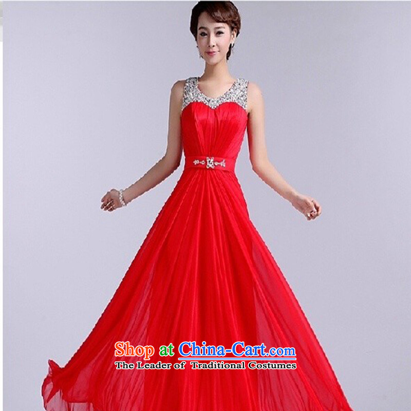 The Korean version of the brides stylish bridesmaid dress bride bows services red zipper gown red made no refund is not shifting