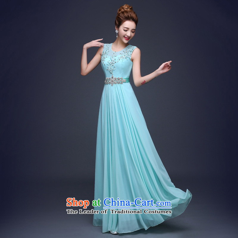 Evening dress 2015 new stylish shoulders long evening banquet Sau San skirt moderator bride bows services Blue?M