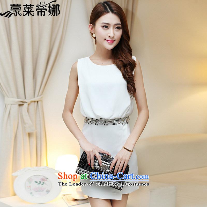 The 2015 Dili Blair Monrovia Korean spring and summer new women's temperament nail Pearl Sau San sleeveless white snow woven dresses dress skirt 625 White?M