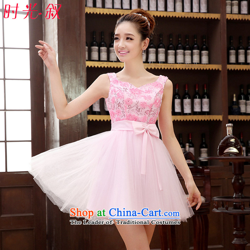 Time Syrian wedding dresses bridesmaid services services wedding dress banquet bows betrothal evening dress short of the new 2015 Sau San sister dress booking wedding dress skirt pink聽XL