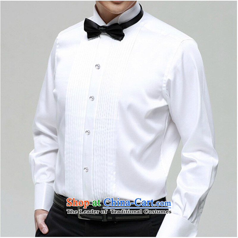 A white long-sleeved boys men will bow shirts and blouses stage choir sing clothing white?40