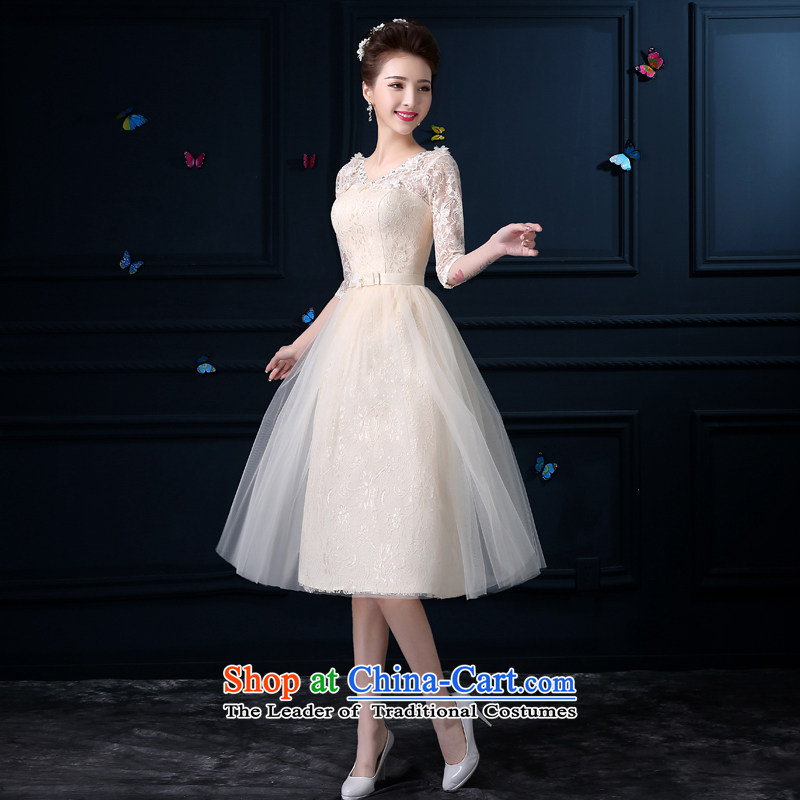 The privilege of serving-leung 2015 new bridesmaid summer wedding dresses serving small in long bridesmaid mission sister skirt dress skirt female�V-Neck - sleeved�2XL