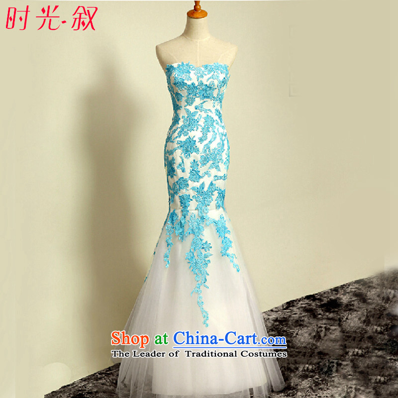 Time wiping the syrian chest crowsfoot evening dresses evening dresses female new autumn 2015 Long wedding dress moderator graduated bridesmaid dresses performances dress skirt light blue?XL