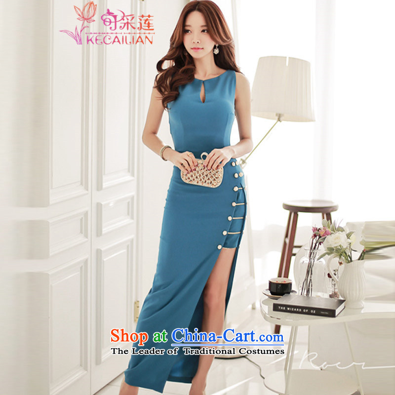 Admissibility Lin sexy dress skirt summer聽2015, summer new women's sexy nightclubs sleeveless dresses graphics package and the forklift truck thin long skirt picture color聽M