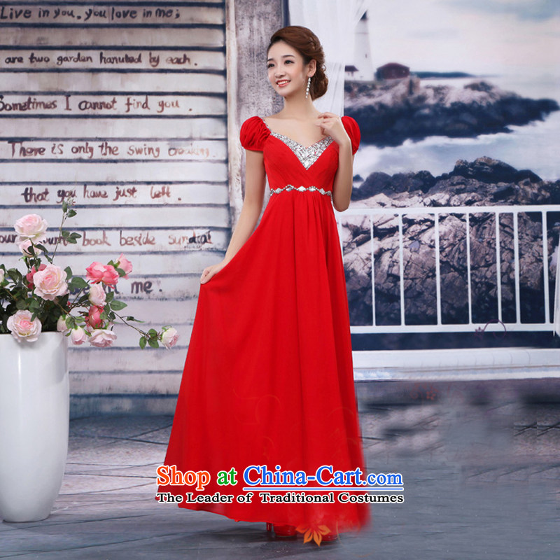 Pure Love bamboo yarn new bride long gown shoulders dress chiffon bridesmaid evening dress toasting champagne small service performance dress summer red long length聽L