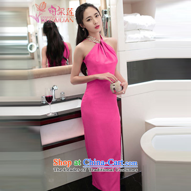 Admissibility Lin sexy dress skirt summer聽2015, summer new women's night club sleeveless hang also dresses Sau San video of the forklift truck package and thin long skirt the red聽XL